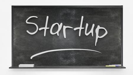 hardwork: Startup written on blackboard