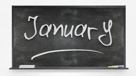 months: January written on blackboard Stock Photo