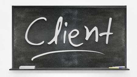 'Client' geschreven op bord