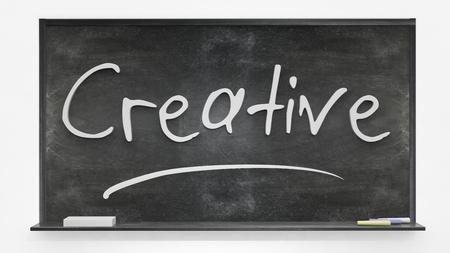 written: Creative written on blackboard Stock Photo