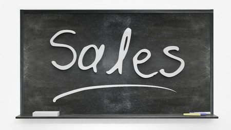 written: Sales written on blackboard