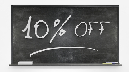 per cent: Ten per cent off written on blackboard