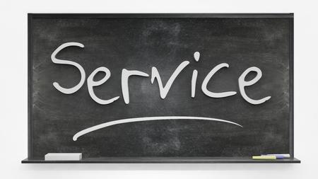 written: Service written on blackboard