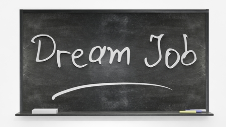 written: Dream job written on blackboard Stock Photo