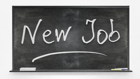 new job: New job written on blackboard Stock Photo
