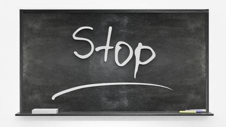 stopped: Stop written on blackboard