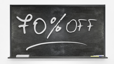 per cent: Seventy per cent off written on blackboard