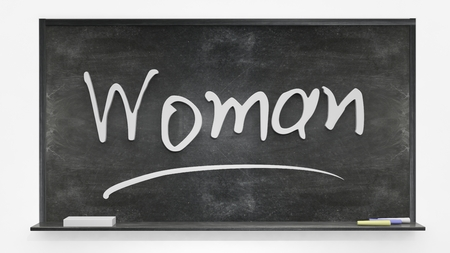written: Woman written on blackboard