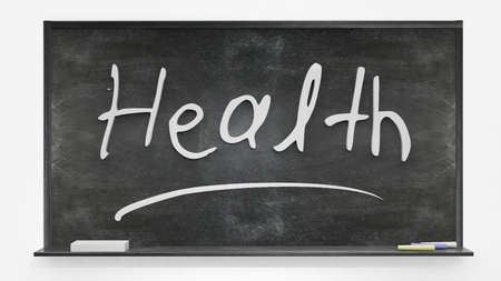 medical signs: Health written on blackboard