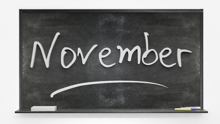 november: November written on blackboard