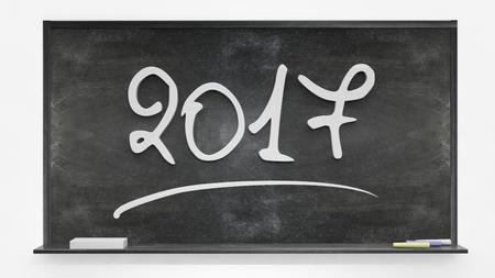 next year: 2017 written on blackboard Stock Photo