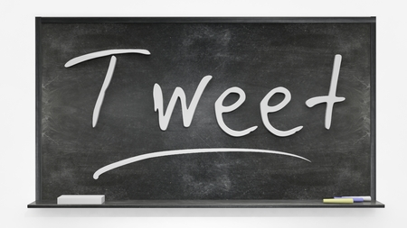 tweet: Tweet written on blackboard
