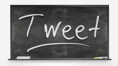 tweet: Tweet written on blackboard