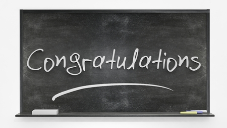 congratulations word: Congratulations written on blackboard Stock Photo