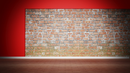 red brick: Room interior, empty weathered brick wall and wooden floor Stock Photo