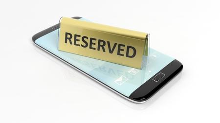 Golden glanzende reservering teken op smartphone-scherm, op een witte achtergrond.