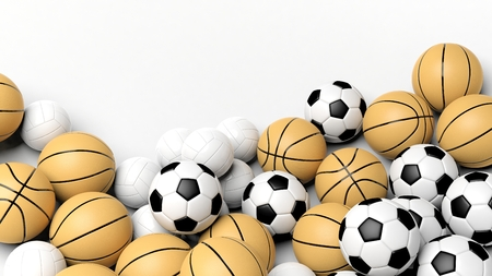 Volley: Pile of basket, volley and football balls, isolated on white with copy-space.
