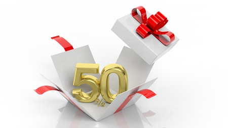 sale off: Open gift box with gold 50 percent number in it, isolated on white background.