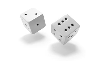 dados: Dos dados blancos rodando dos y seis, aislados en fondo blanco