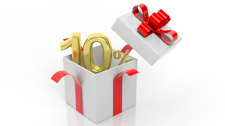 discount: Open gift box with gold 10 percent number in it, isolated on white background.