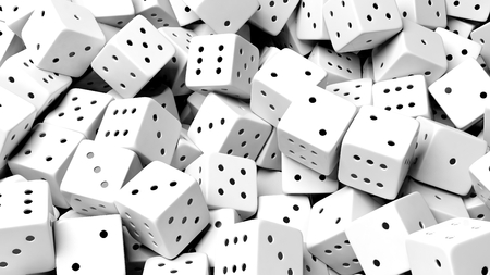 wager: Abstract conceptual background with pile of random white dices, top view. Stock Photo