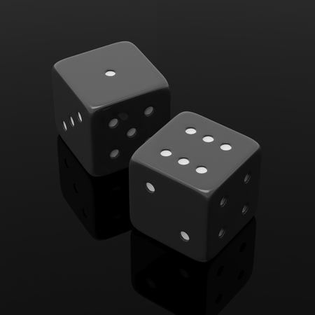 dice: Two black dices one and six, isolated on black background