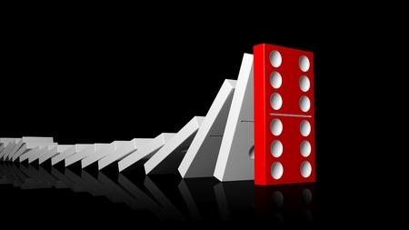 tessere del domino bianco di cui in fila sul rosso a ultimo in piedi, isolato su fondo nero