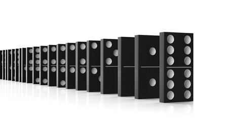 topple: Black domino tiles set in a row, isolated on white