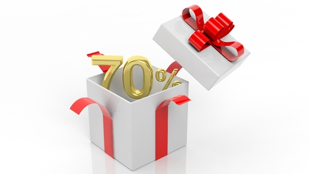 open box: Open gift box with gold 70 percent number in it, isolated on white background.