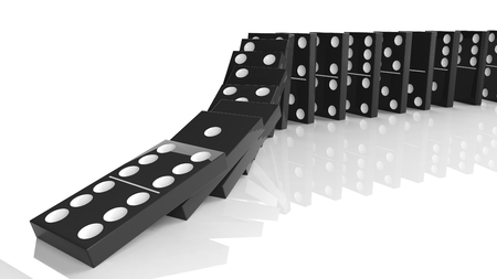 cause: Black domino tiles falling in a row, isolated on white Stock Photo