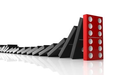Piastrelle di domino nere che cadono in una riga al rosso ultimo uno in piedi, isolato su bianco Archivio Fotografico