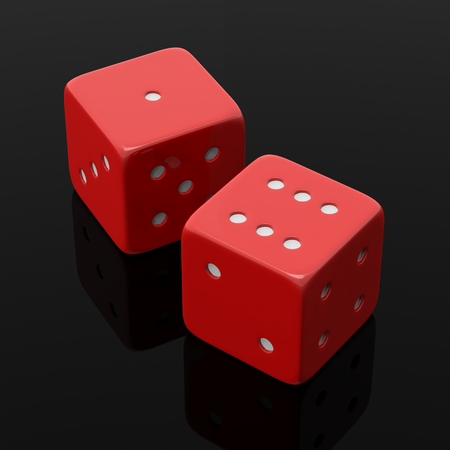 black and red: Two red dices one and six, isolated on black background