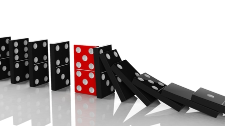 chain reaction: Black domino tiles in a row about to fall with red one standing on the way, on white Stock Photo