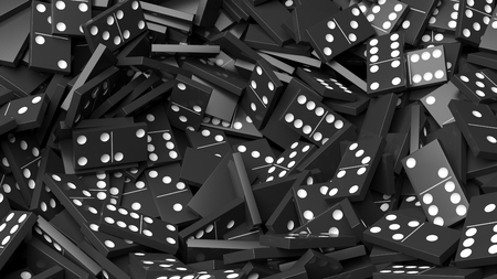topple: Black domino tiles pile abstract background Stock Photo