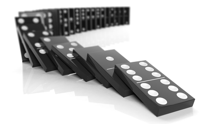 cause and effect: Black domino tiles falling in a row, isolated on white Stock Photo