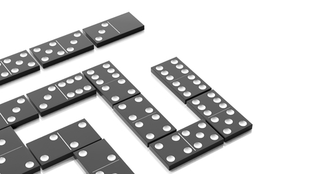 topple: White domino tiles set, isolated on white background