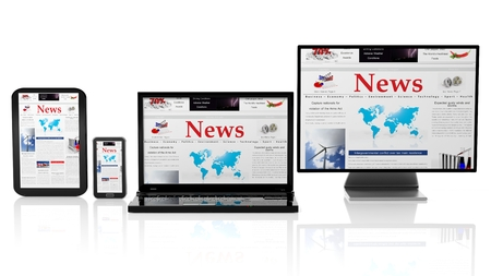 laptop screen: Tablet, smartphone, laptop and monitor with News website on screen,isolated on white.