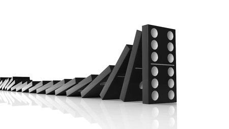 topple: Black domino tiles falling in a row on to last one standing, isolated on white