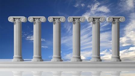bluet: Six ancient pillars with bluet sky background.