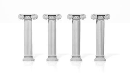 Four ancient pillars, isolated on white background. Фото со стока