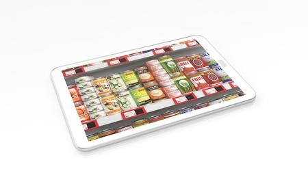 negocios comida: estantería de un supermercado con comida enlatada en la pantalla de la tableta, aislado en fondo blanco. Foto de archivo