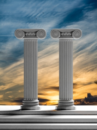 roman pillar: Two ancient pillars with sunset sky background.
