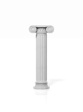 Ancient pillar, isolated on white background. Stock Photo