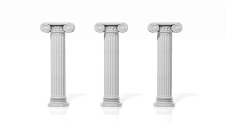 Three ancient pillars, isolated on white background. Banque d'images