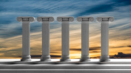 3d temple: Five ancient pillars with sunset sky background.