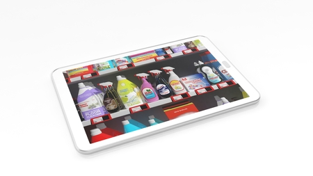 흰색 배경에 고립 태블릿 화면에 가정 용품 슈퍼마켓 선반.