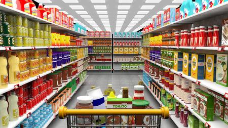 Wnętrze supermarketów, półki z różnymi produktami i koszyk pełny wózek