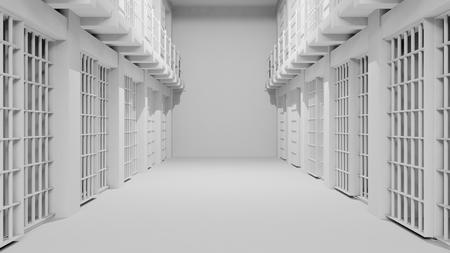 incarcerate: Rows of prison cells, prison interior.