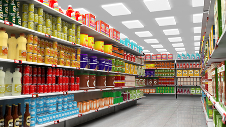market hall: Supermarket interior with shelves full of various products.