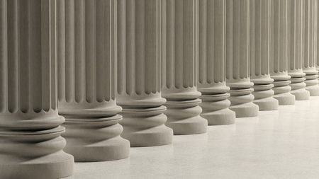 3d temple: Ancient pillars in a row on marble floor. Stock Photo
